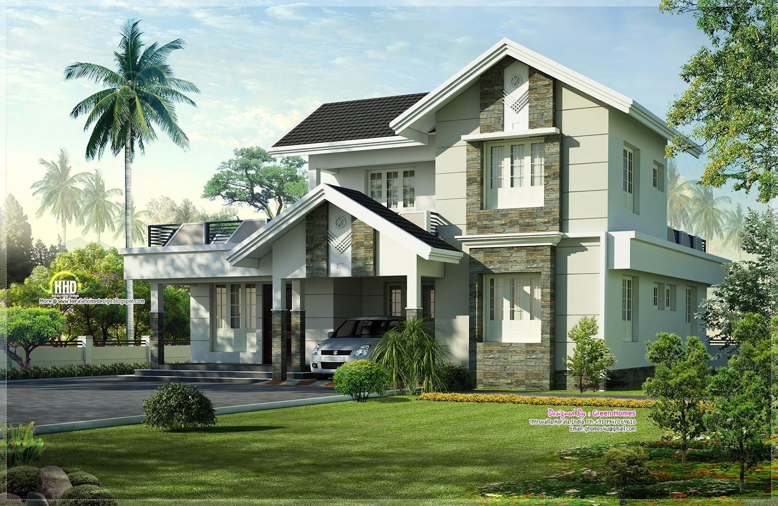 Beautiful house h ada googlom moje pinterest house nice houses and design floor plans - Kerala exterior model homes ...