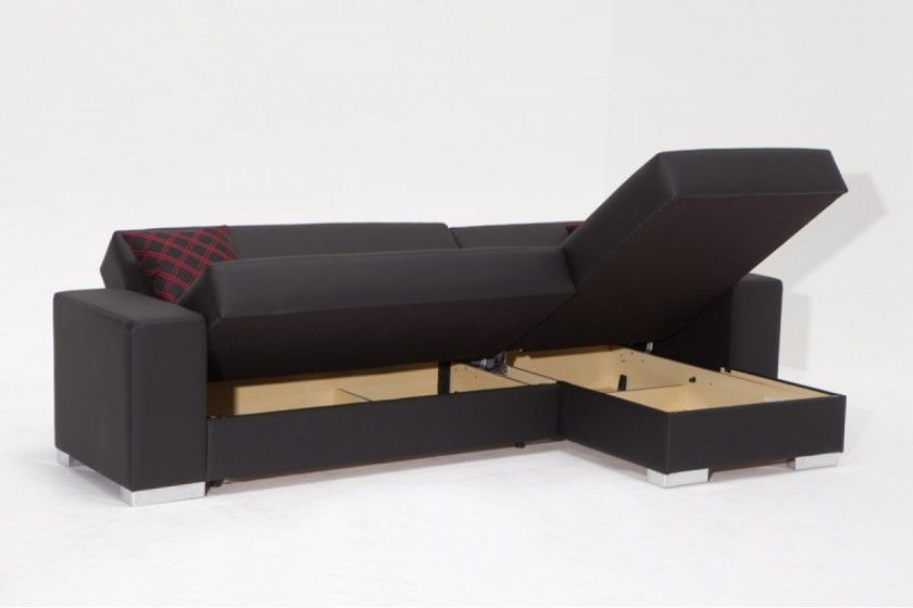 Matte Black Line Fabric Sleeper Sofa With Left Chaise Lounge Having Light Brown Storage Underneath