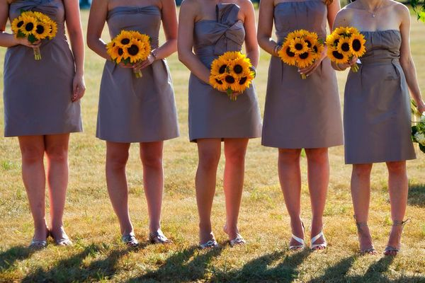 Bridesmaids withe Sunflower Bouquets #wedding