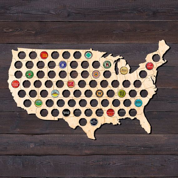Boyfriend Gift Beer Cap Map USA Christmas Present Dad Birthday Gift