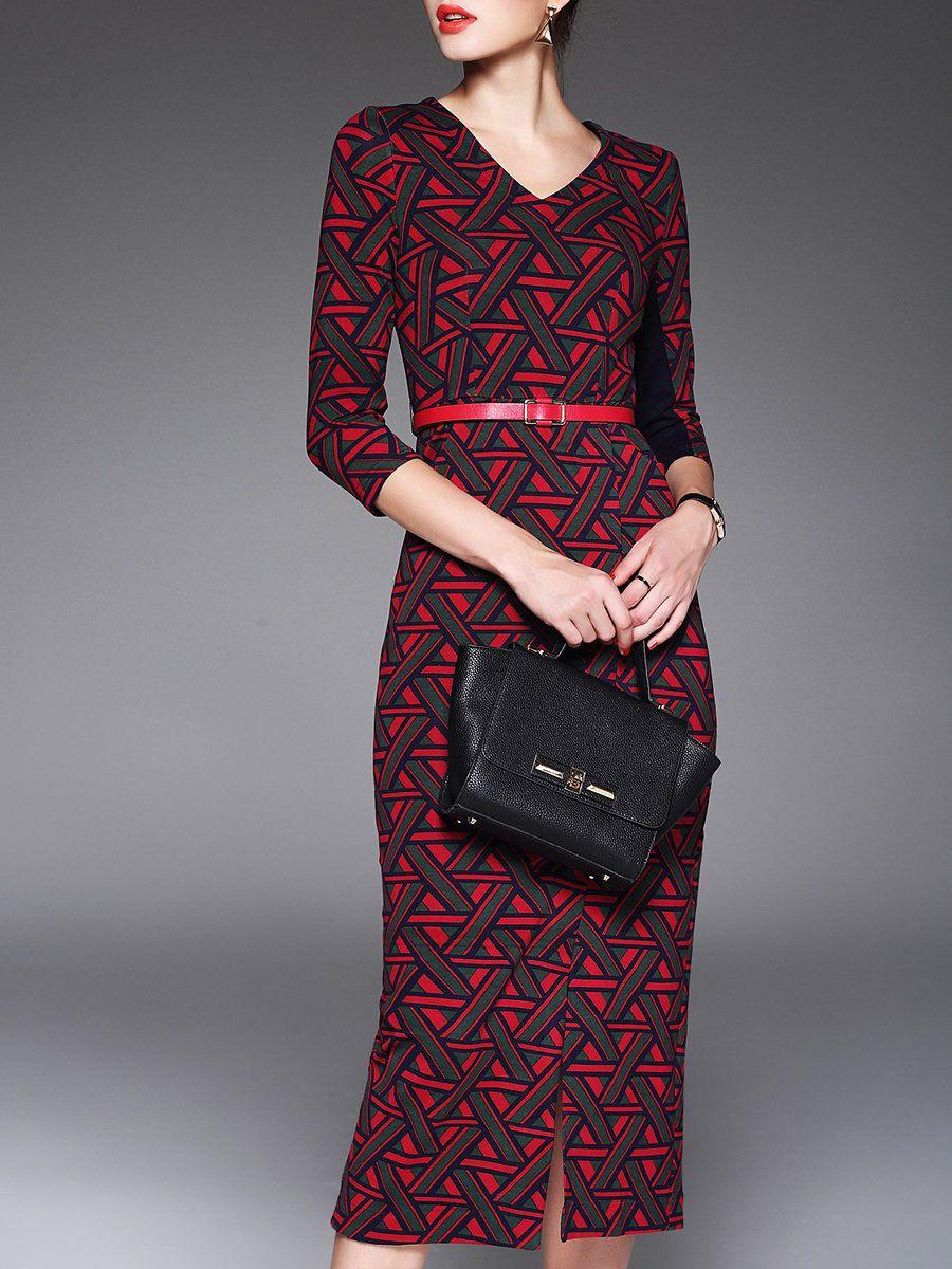 Lonyuash red geometric sleeve v neck polyester midi dress v