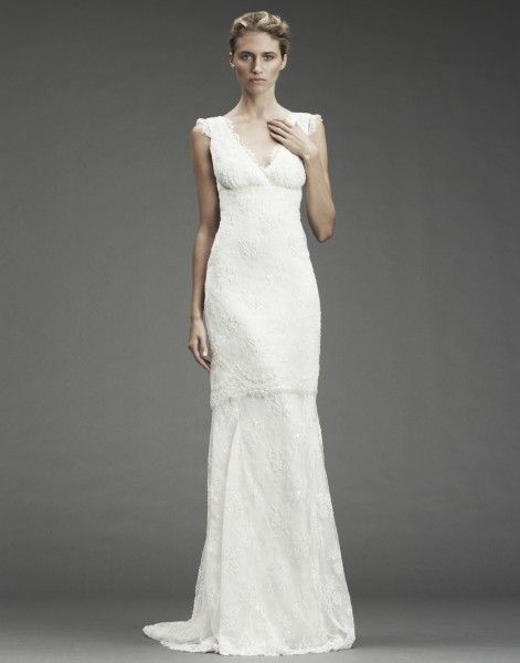 NICOLE MILLER HERITAGE      NM9978 BEADED LACE V-NECK GOWN WITH LACE TRIM