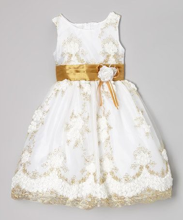 940960d3a987 White & Gold Floral Embroidered Dress - Infant, Toddler & Girls by Kid  Fashion #zulily #zulilyfinds