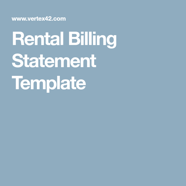 Rental Billing Statement Template  Rental Management