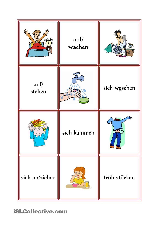 Memory zum Tagesablauf | Demenz, Deutsch lernen und Senioren