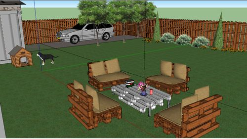 3D Project For Garden With Pallets Furniture. Price: 100 Euro.