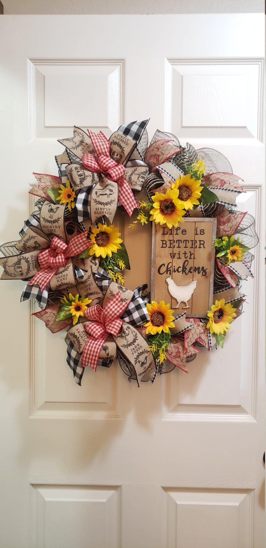 Photo of Farmhouse wreath, chicken wreath, sunflower wreath, front door wreath, kitchen wreath