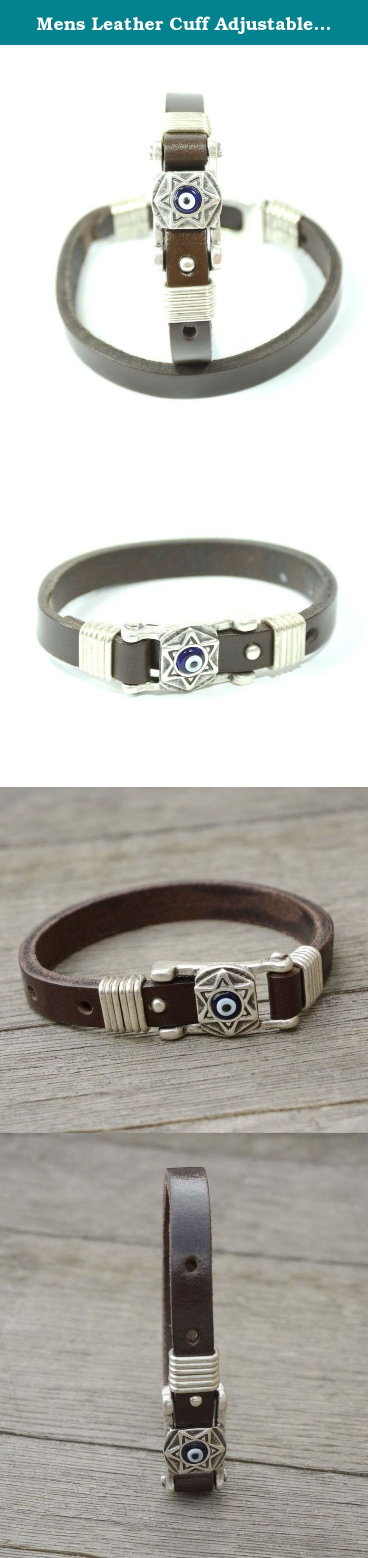 Mens leather cuff adjustable bracelet with star charm for evil eye