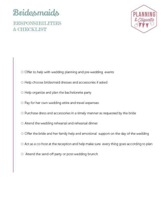 Printable Wedding Party Duties Checklist