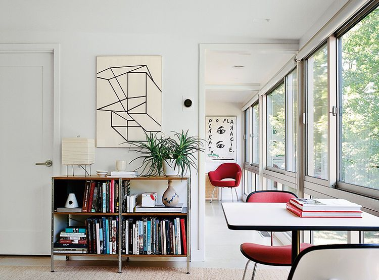 modern guesthouse renovation in new york with eames storage unit and cork floor tiles in the - Cork Living Room 2015