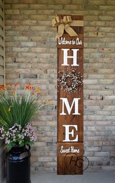 6' Porch Sign HOME Welcome Sweet Home Spring Summe