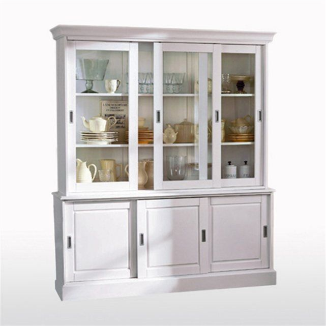buffet vaisselier pin massif authentic style buffet vaisselier col blanc et pin massif. Black Bedroom Furniture Sets. Home Design Ideas
