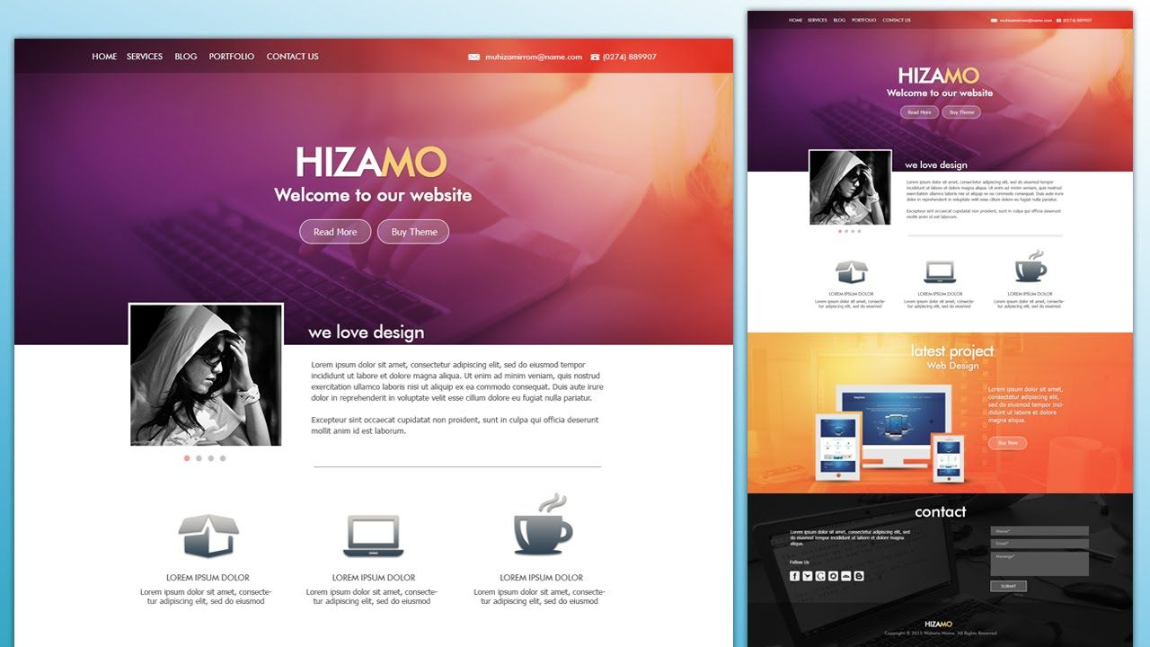 Design A Hizamo Portfolio Website In Photoshop Website Design Tutorial Portfolio Website Photoshop Website