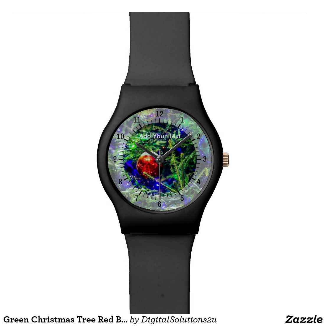 Green Christmas Tree Red Ball Wrist Watch