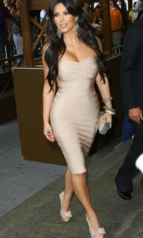23e54a79017 Herve Leger Kim Kardashian Nude Strapless Bandage Dress and Louboutins