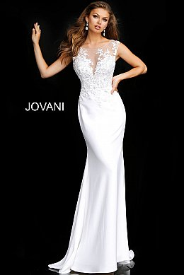 Jovani Jb68166 Off White Floral Sheer Neck Bridal Dress Fitted Wedding Gown Wedding Dresses Short Wedding Dress