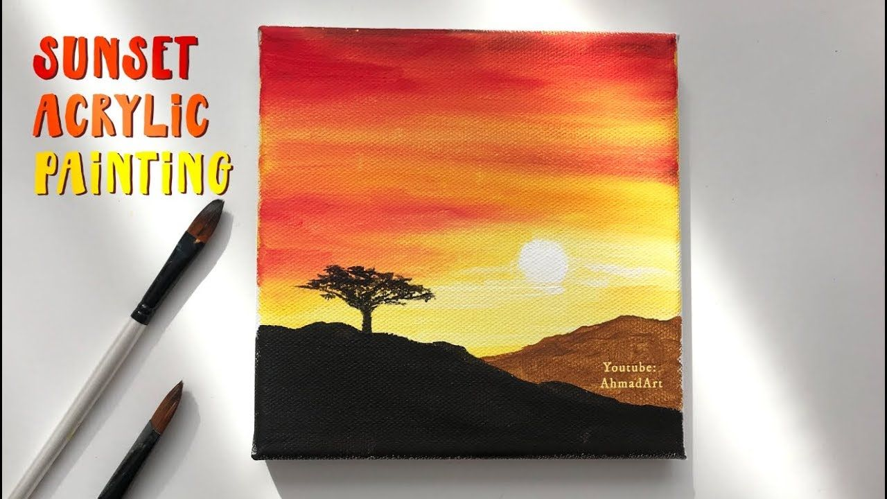 Easy Step By Step Sunset Acrylic Painting for Beginners ...