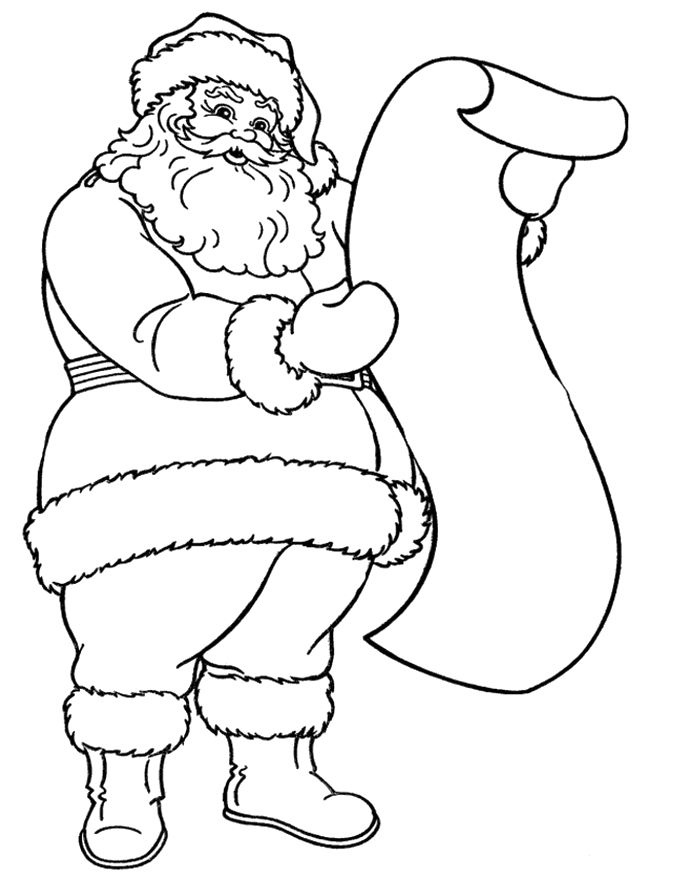 Santa Claus Reading The Long Letter Coloring Pages Christmas