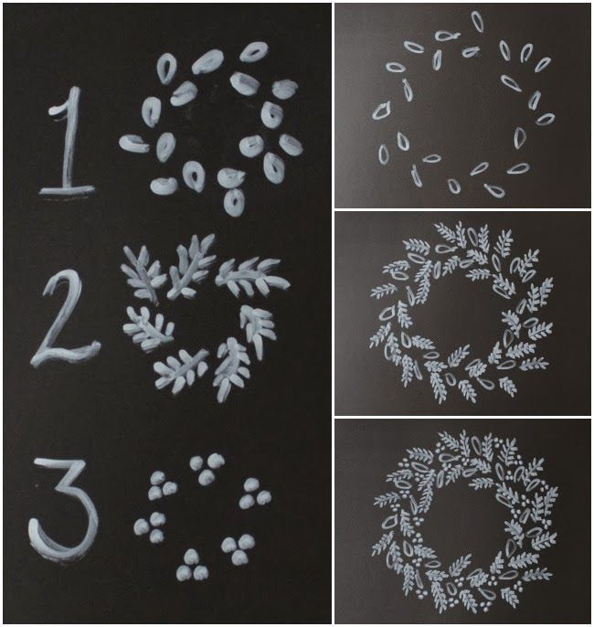 Photo of Christmas decorations drawn in chalk How to Draw a Chalk Art Wreath