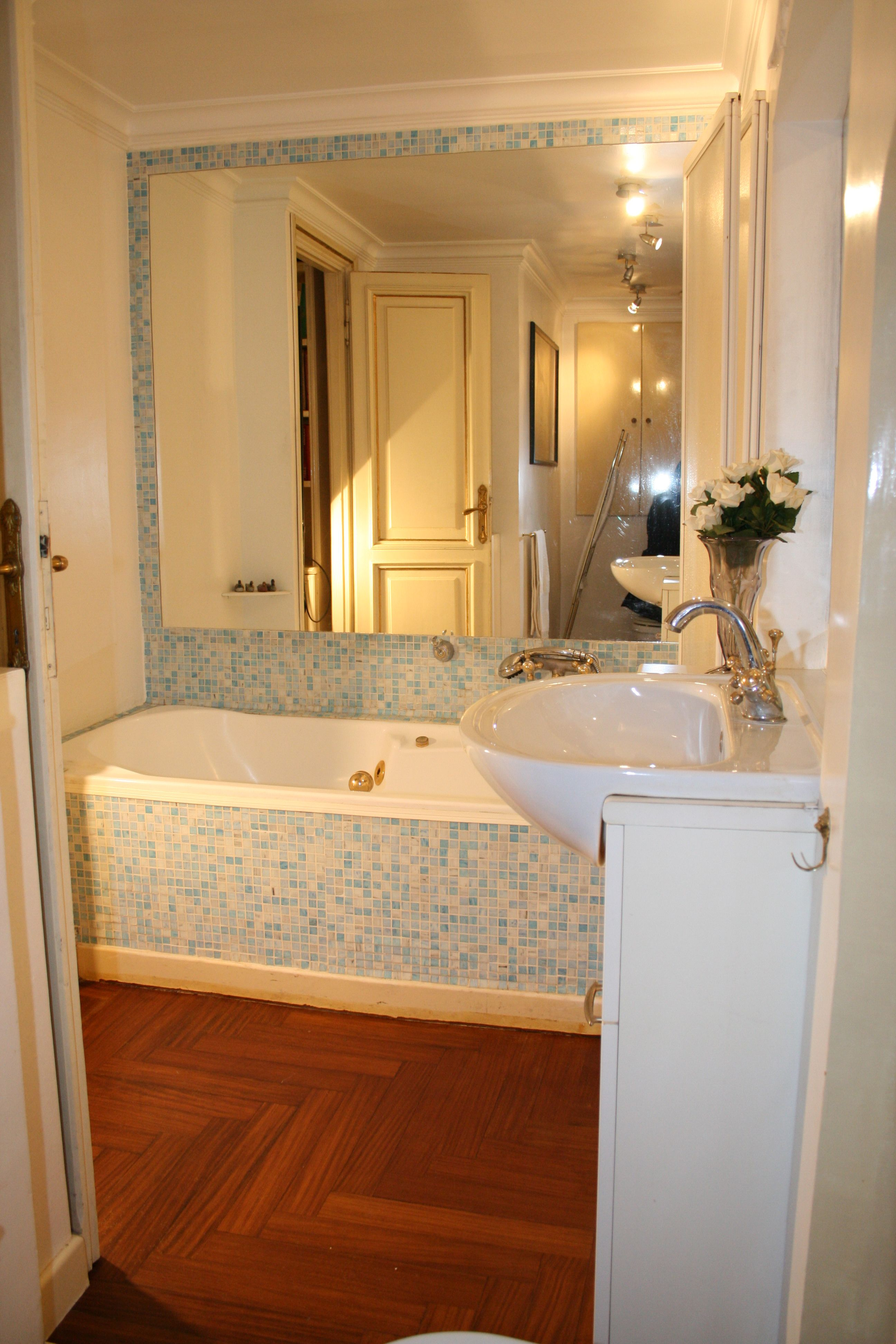 parquet floor with faux wood tile   Half bathroom decor ...