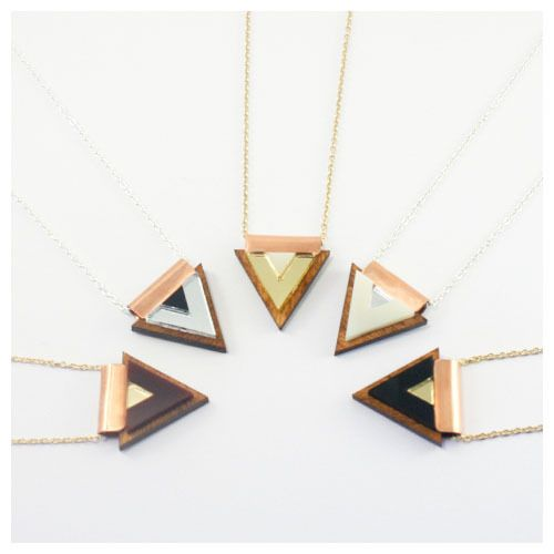 Overlay Triangle Necklace - Wood | Wolf & Moon