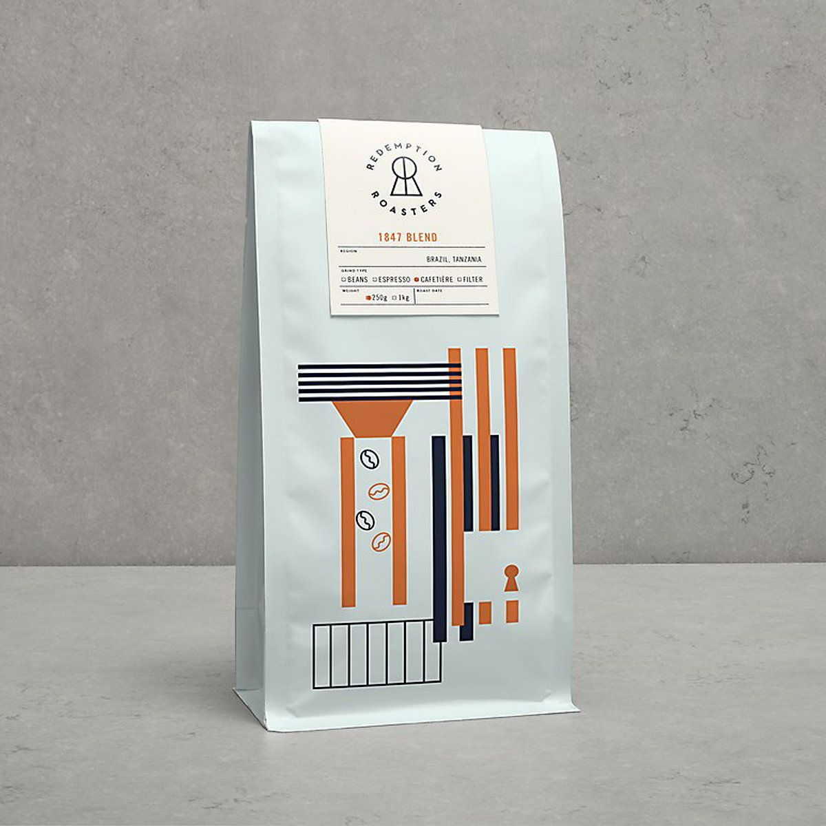 Here Design Creates New Brand Identity For Redemption Roasters Coffee Packaging Coffee Kit Coffee Design