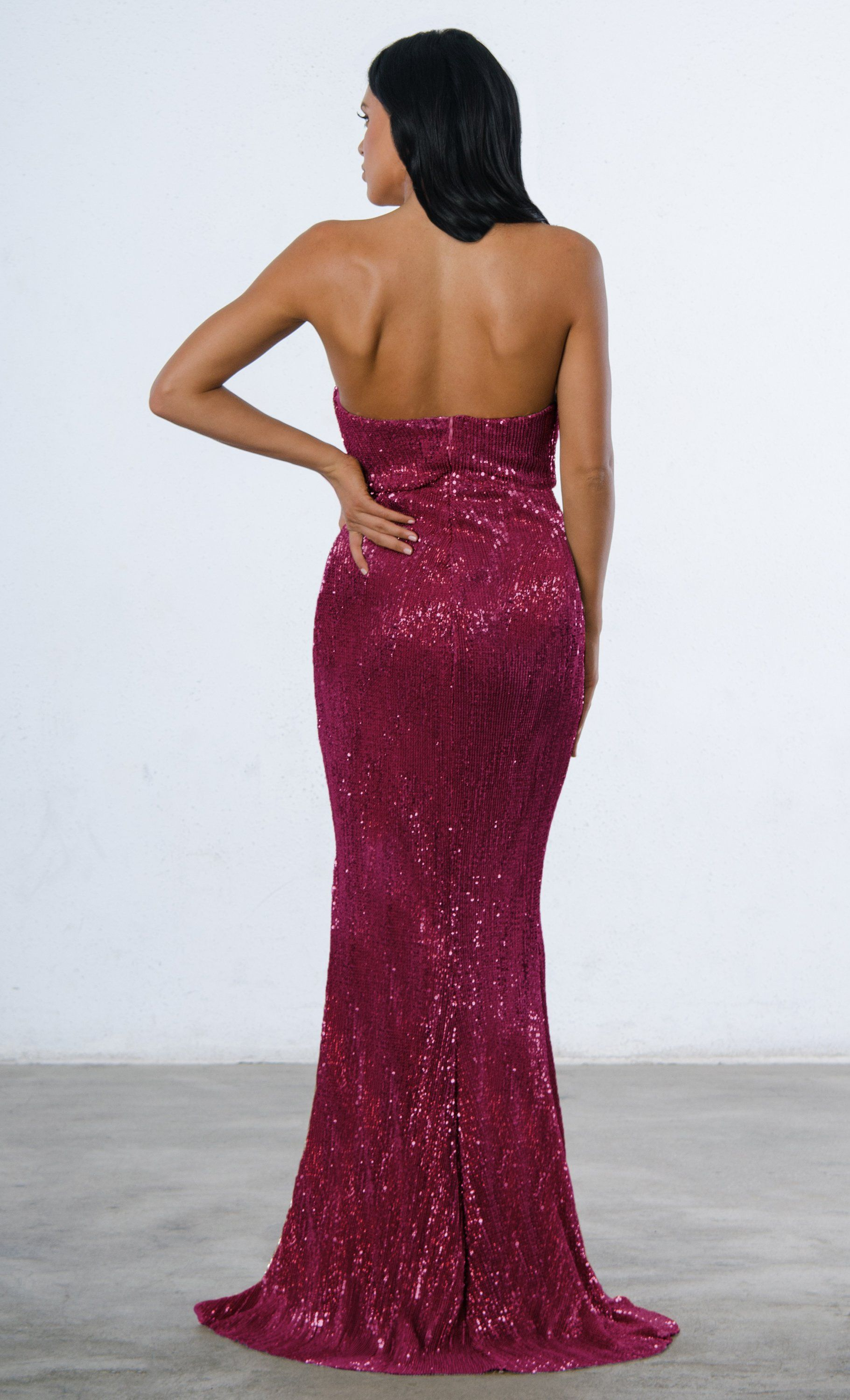 c69c307f327f Indie XO Show Me Some Love Burgundy Wine Red Sequin Strapless Sweetheart  Neck High Slit Fishtail Maxi Dress - 5 Colors Available