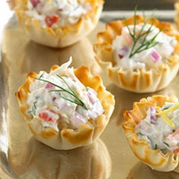 Phyllo Cup Crab Appetizers With Cream Cheese And Dill Recipe Appetizers Appetizers For