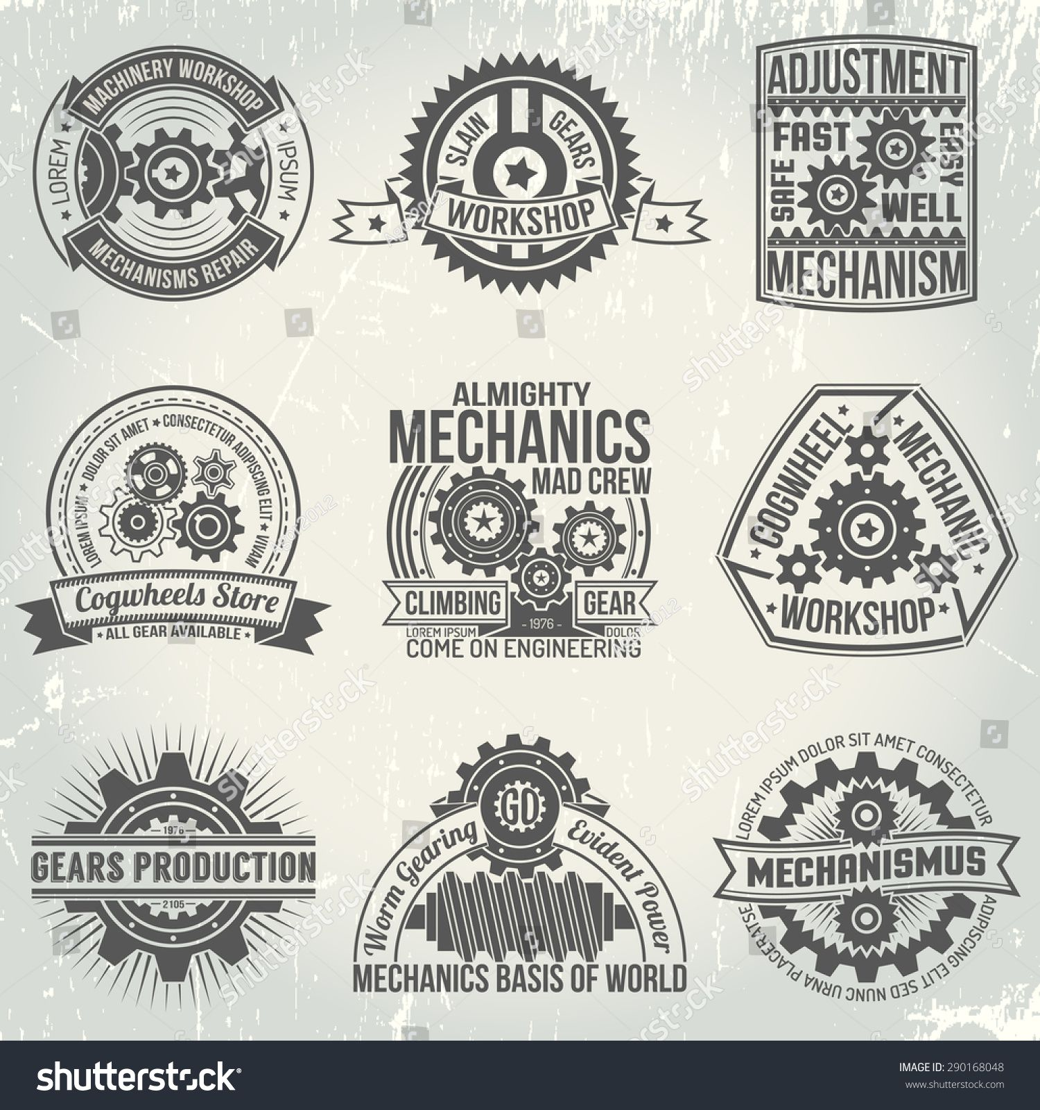 Vintage Logos With Gears And Mechanisms Emblems On The Subject Of Mechanics In Retro Style Background With S Vintage Logo Mechanics Logo Mechanic Logo Design