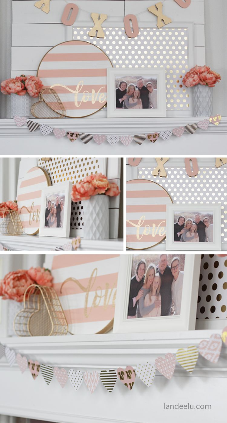 Valentine S Day Decor Pink And Gold Mantel Valentines Diy
