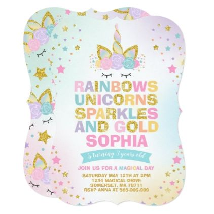 Unicorn Birthday Invitation Magical Party