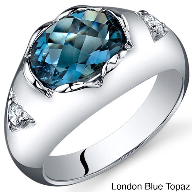 Oravo Sterling Silver Oval-cut Gemstone and Cubic Zirconia Ring (London Blue Topaz Size 9), Women's