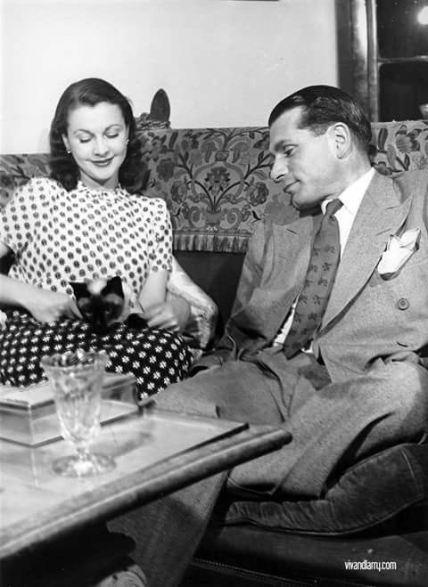 The Oliviers with New Cat.Durham Cottage 1946.