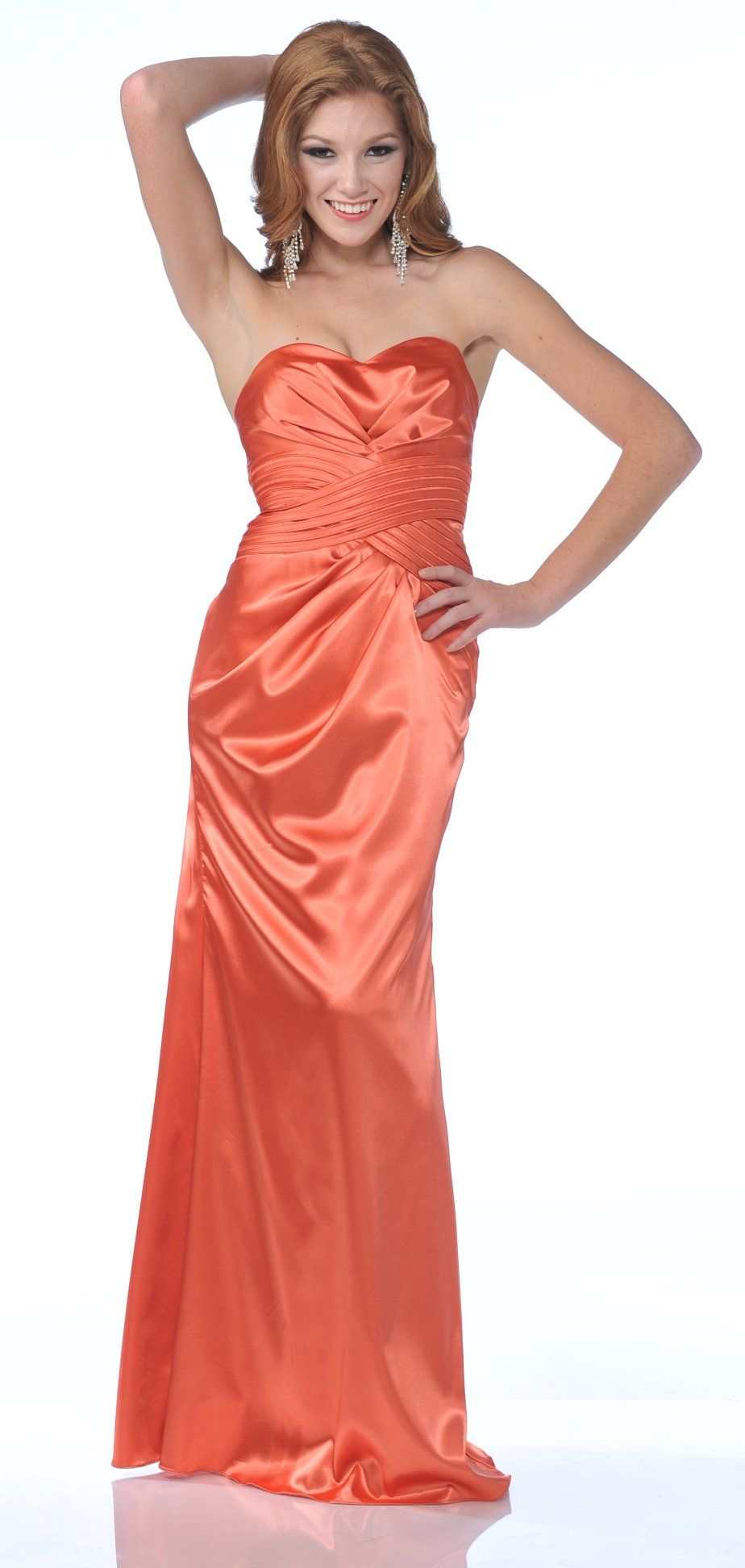 Beautiful satin orange prom dress strapless full length formal