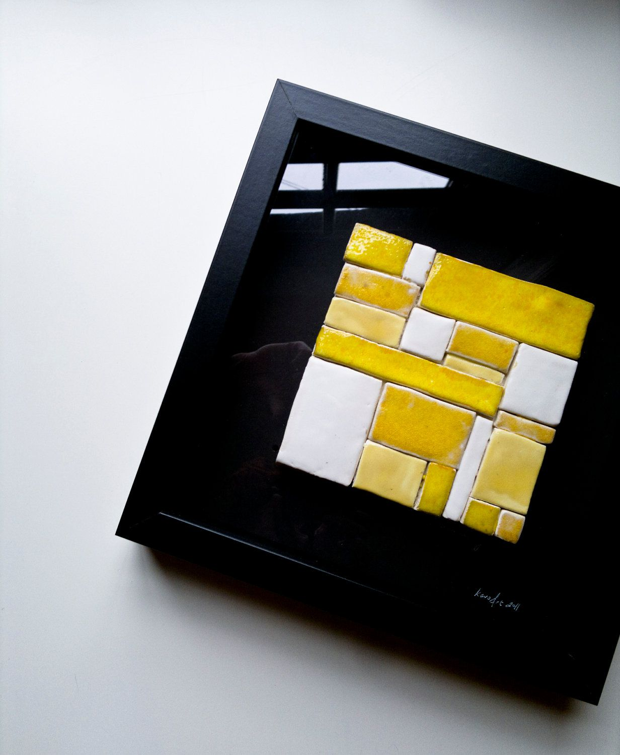 modern minimalist CERAMIC WALL TILE, unique pottery wall hanging ...