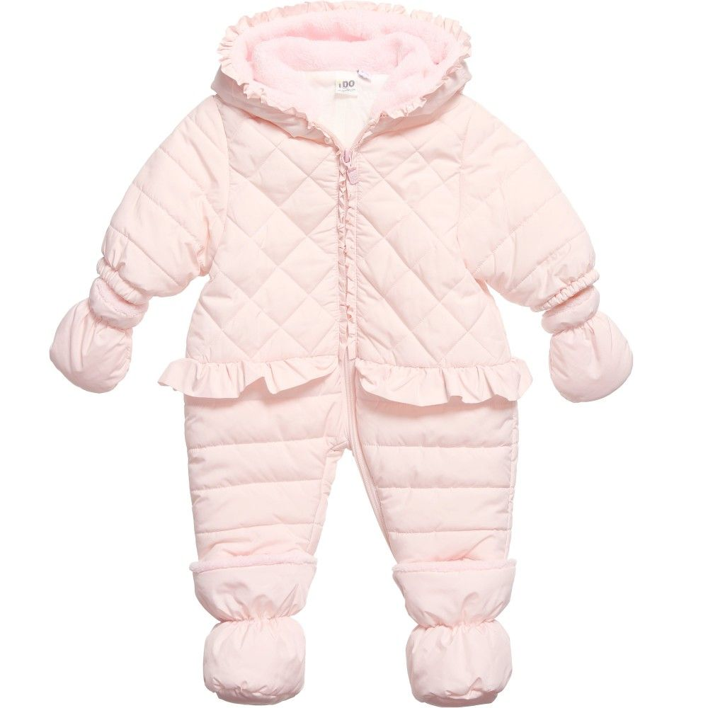 75f9f179f Baby Girls Pink Snowsuit with Booties   Mittens