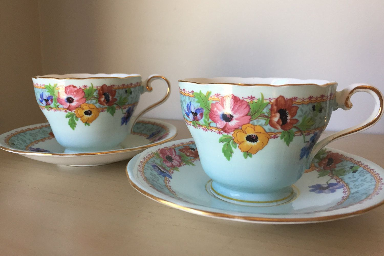 Aynsley Vintage Teacup Duos, Light Blue Poppy Tea Cups and Saucers, Floral English Bone China, Tea for Two by CupandOwl on Etsy