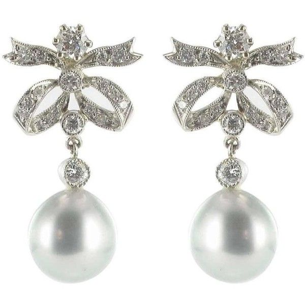 Preowned New French Grey Pearl Diamond Earrings 486 105 Liked On Polyvore Featuring