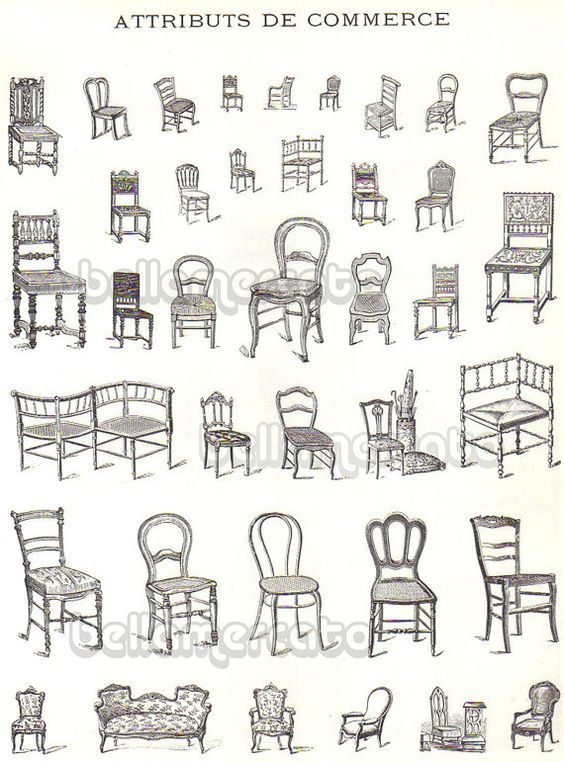 Vintage French Furniture Book Illustrations Of Chairs Beds From France Advertising Art Early