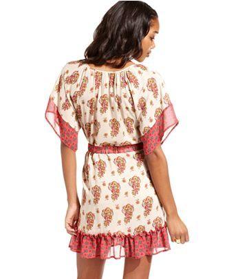American Rag Juniors Dress, Short Sleeve Printed Belted - Juniors Dresses - Macy's