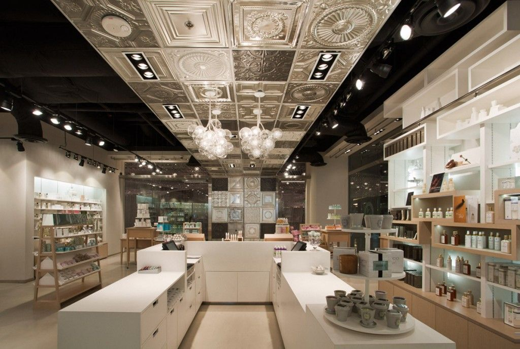 Interior design for cosmetic shop6 amazing ceiling for Shop ceiling design