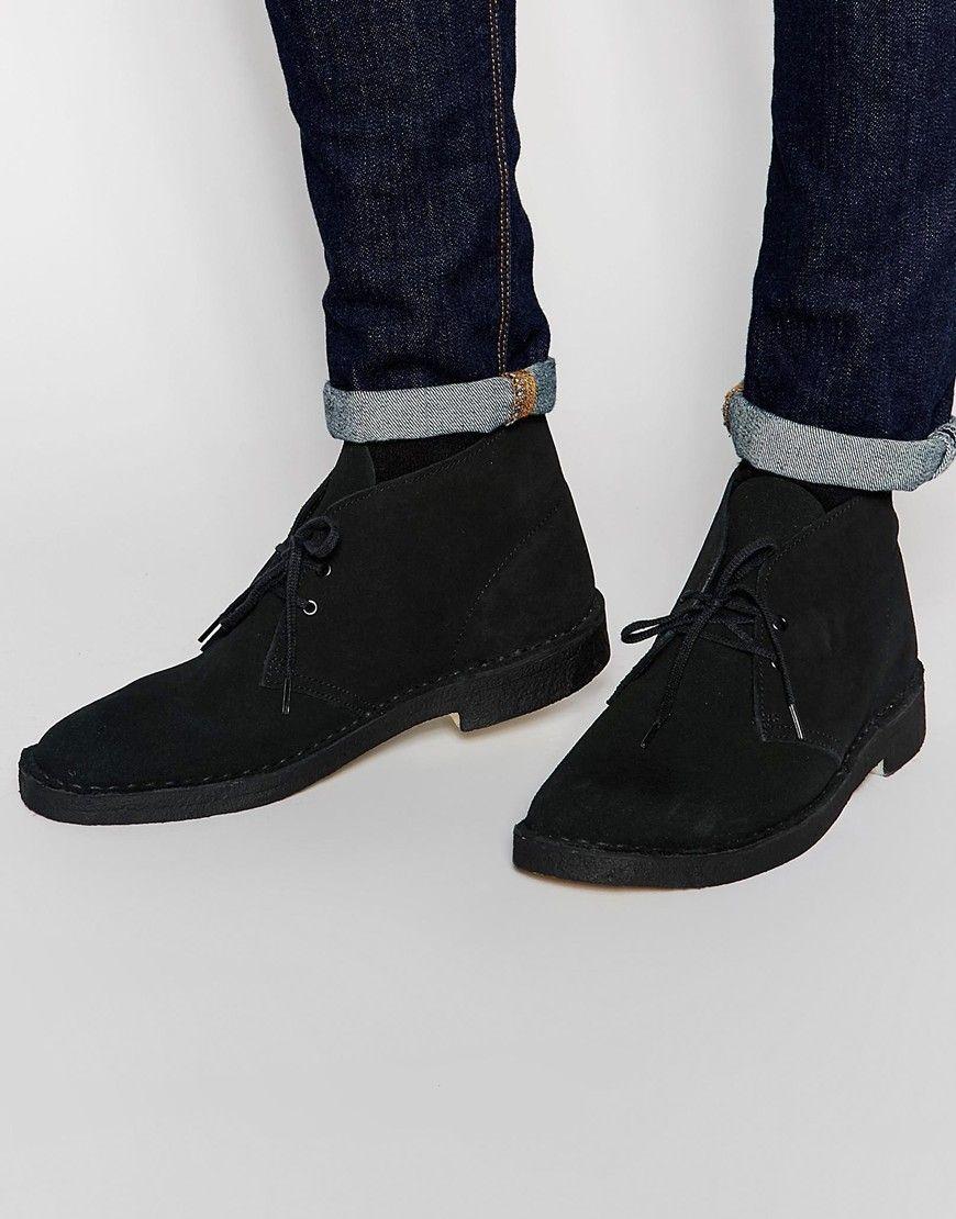 281bc93aa Clarks Originals Suede Desert Boots - Black   fashion   Desert boots ...