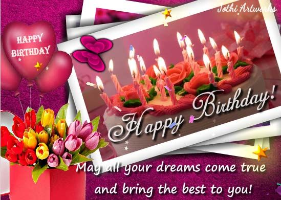 Wish someone special with flowers and warm wishes with nice music – Birthday Wish Greeting Images