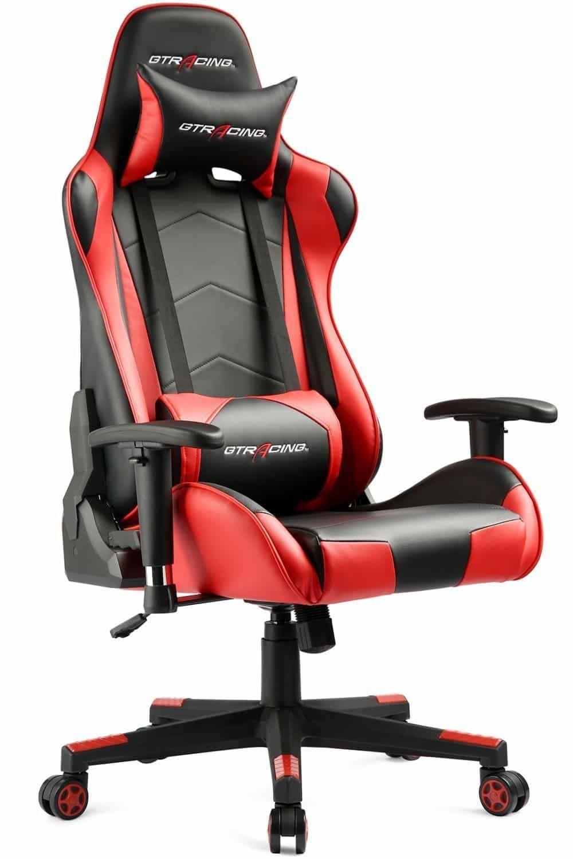 Gtracing ergonomic office chair racing chair backrest and seat height adjustment computer chair with pillows recliner swivel rocker tilt