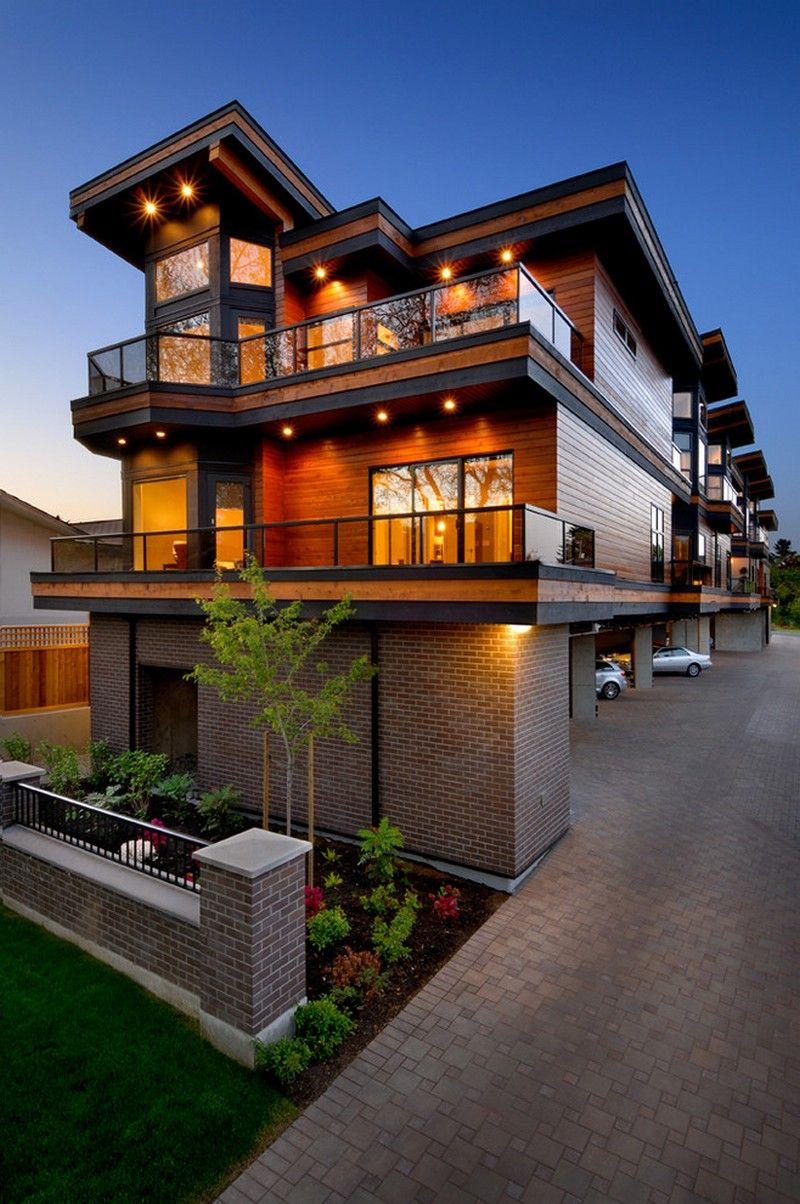 Contemporary Exterior Design Modern Wood Siding Modern House Exterior Elevation: Combination Of Wood Siding And Gray Brick