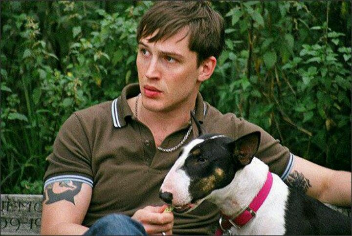 Tom Hardy and a bull terrier! What more could a girl want!