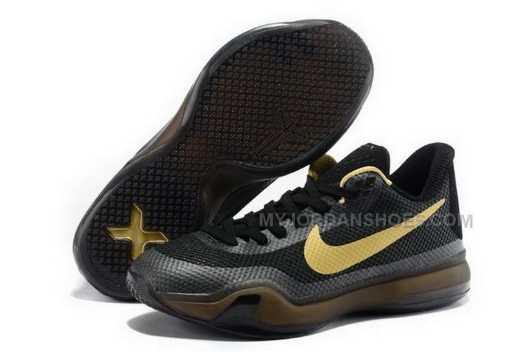 Buy Cheap Nike Kobe 10 2015 Black Gold Mens Shoes