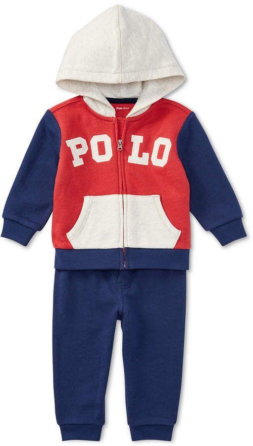 1f1011b35 Polo Ralph Lauren Baby Boys Cotton Hoodie   Jogger Pants Set ...