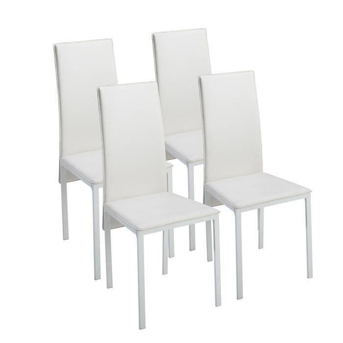 CHAISE ELISA Lot de 4 Chaises de salle à manger blanches HOME