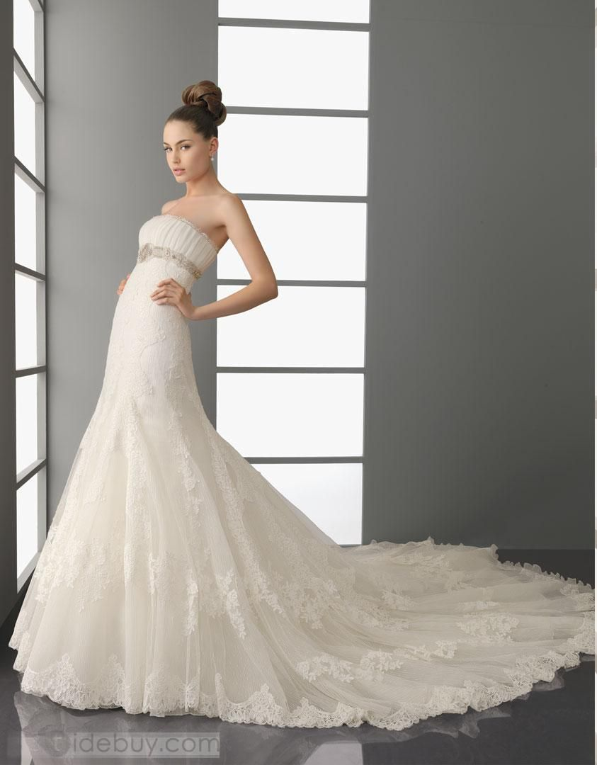 Fantastic A-line Strapless Floor-Length Cathedral Train Wedding Dresses 2012 New Style